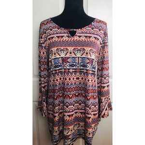 db established 1962 patterned bell sleeve tunic